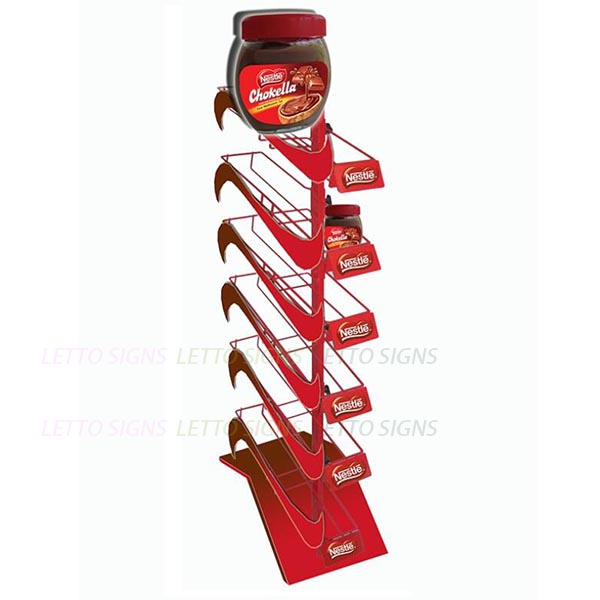 Retail Display Rack floor stand with 6 fixed wire shelves